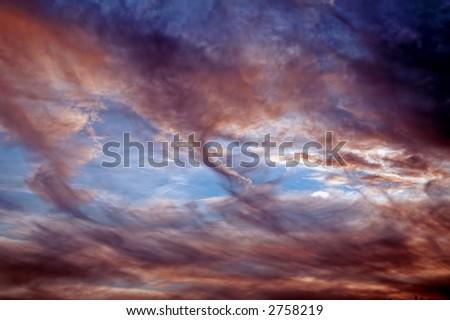 Strange, tornado-like sky - stock photo