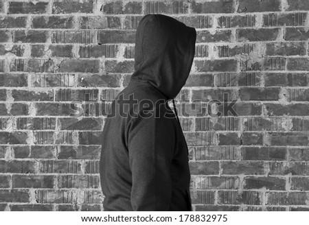 Stranger man ,black and white  - stock photo
