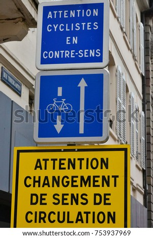 Strasbourg, France - august 13 2017 : sign for cyclist in the city center