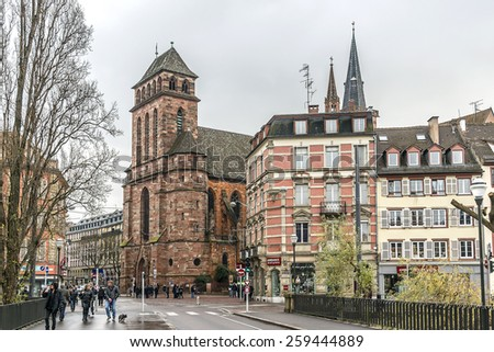 STRASBOURG, FRANCE - DECEMBER 21, 2014: Street view of Strasbourg. Strasbourg is the capital and principal city of Alsace region in eastern France and is official seat of European Parliament.