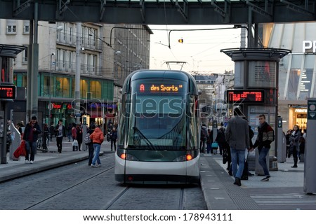 STRASBOURG, FRANCE - FEB 17 2014: Kleber Strasbourg tram stop in the square is serving thousands of passengers every day - stock photo