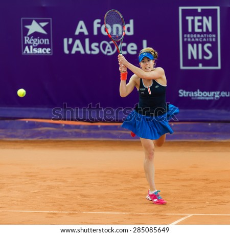 STRASBOURG, FRANCE - MAY 20 :  Alize Cornet in action at the 2015 Internationaux de Strasbourg WTA International tennis tournament