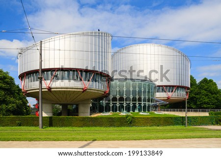 STRASBOURG, FRANCE - MAY 30: Building of the European Court of Human Rights, which is international court established by the European Convention on Human Rights, in May 30, 2014.  - stock photo