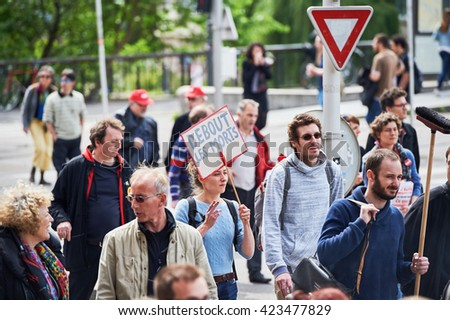 STRASBOURG, FRANCE - MAY 19, 2016: Debout les morts placard during a demonstrations against proposed French government's labor and employment law reform - stock photo
