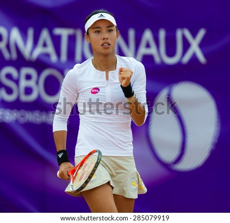 STRASBOURG, FRANCE - MAY 16 :  Quiang Wang in action at the 2015 Internationaux de Strasbourg WTA International tennis tournament