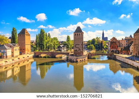 Strasbourg, medieval bridge Ponts Couverts and Cathedral, view from Barrage Vauban. Alsace, France. - stock photo