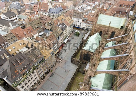 Strasbourg seen from the cathedral - France - stock photo