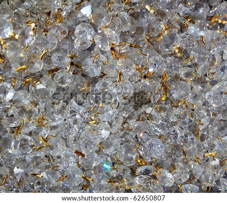 Strass transparent glass jewellery pattern texture golden wire - stock photo