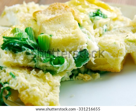 Strata  -  casserole dishes in American cuisine. made from a mixture which mainly consists of bread, eggs and cheese