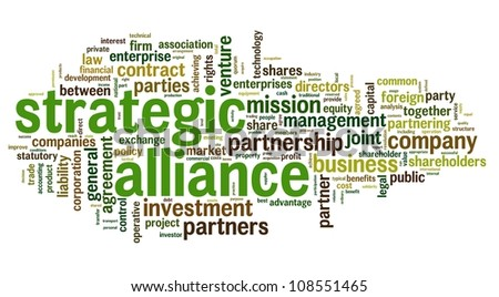 Strategic alliance concept in tag cloud on white - stock photo