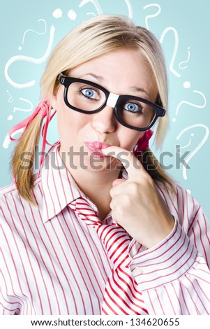 Strategic business woman plotting a plan of thought while delving into unsolved problems - stock photo