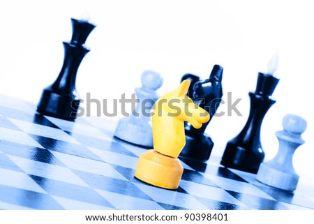 Strategic Formation in the chess game - stock photo