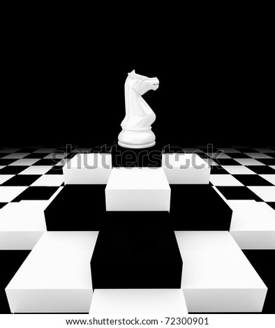 Strategic games; chess; one knight on chess board - stock photo