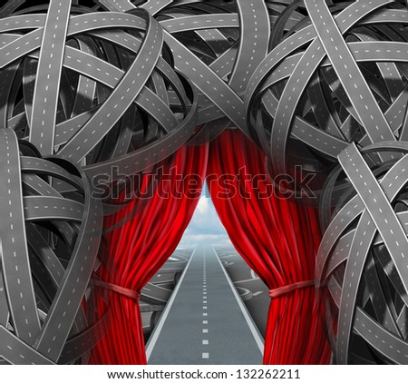 Strategic opportunity cutting through the confusion with clear strategy and solutions for business leadership with a straight success path[ with open red curtains through tangled roads and highways. - stock photo