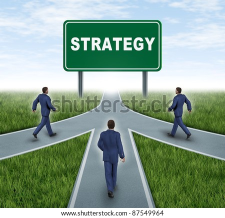 Strategic partnerships converging on the same road as a team sharing the same strategy and vision for the success of a company by working together by three roads merging together with business men. - stock photo
