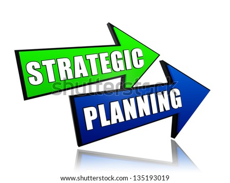 strategic planning - text in 3d color arrows, business concept - stock photo