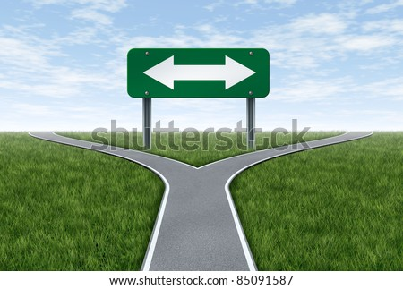 Strategy and planning future direction in life or business using the road metaphor and highway sign with a fork shaped traffic lane showing the concept of dilemma and selecting the right option.
