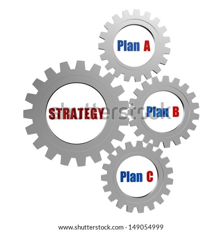 strategy and plans - plan A, plan B, plan C - words in 3d silver grey gearwheels, business concept - stock photo