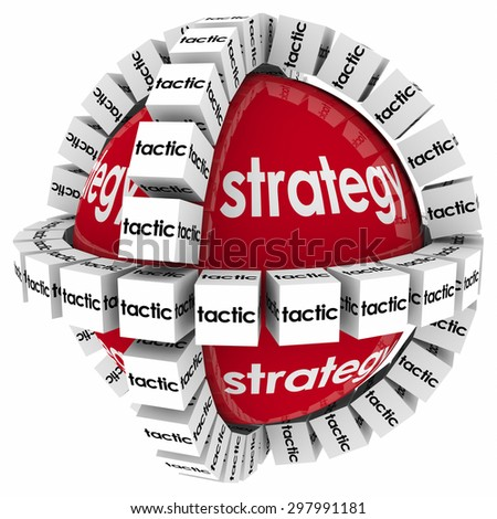 Strategy and tactics to achieve success in goal, mission or objective through a process, system or procedure - stock photo