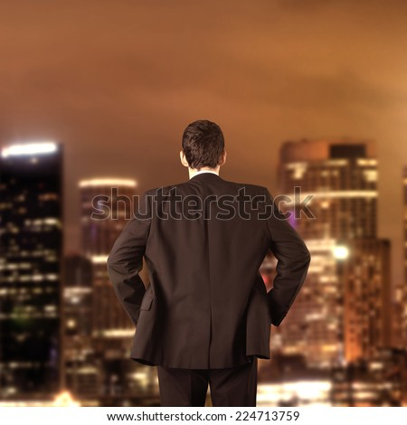 Strategy and vision business concept with city theme - stock photo