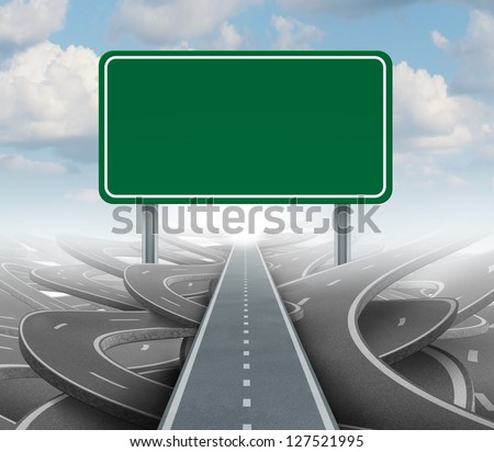Strategy blank sign as a clear plan and solutions for business leadership with a straight path to success choosing the right strategic road with green highway signage with copy space. - stock photo