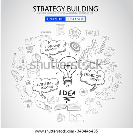 Strategy Building concept with Doodle design style :finding solution, brainstorming, creative thinking. Modern style illustration for web banners, brochure and flyers. - stock photo