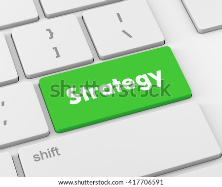 Strategy Concept. Button on Modern Computer Keyboard with Word Strategy on It, 3d rendering - stock photo