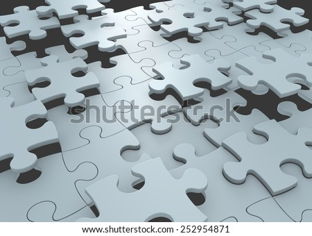 Strategy concept of puzzle pieces connecting to form a solution to a challenge - stock photo