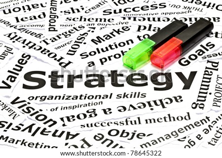 Strategy concept with many other related words and two text markers - stock photo