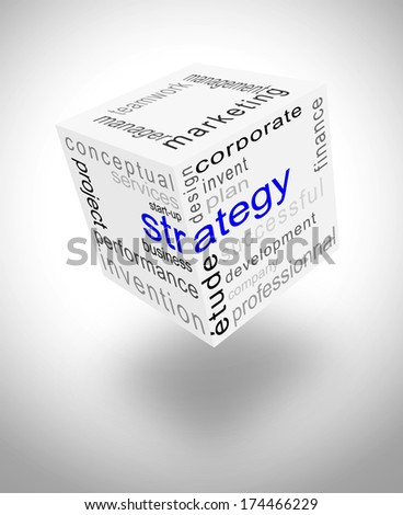 strategy cube with some relevant english words - stock photo