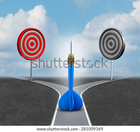 Strategy decision business concept as a confused 3d blue dart deciding which bull eye target to aim for as a metaphor for strategic advice and consulting. - stock photo