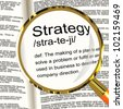 Strategy Definition Magnifier Shows Planning Organization And Leadership - stock photo