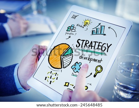 Strategy Development Goal Marketing Vision Planning Hand Concept - stock photo