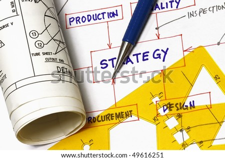 Strategy flowchart with engineering blueprint - concept for idea to fabrication. - stock photo