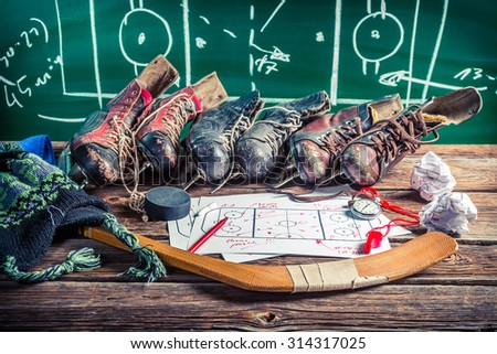 Strategy in ice hockey matches - stock photo