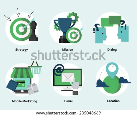 Strategy, marketing and internet business concepts. Flat design. (raster version) - stock photo