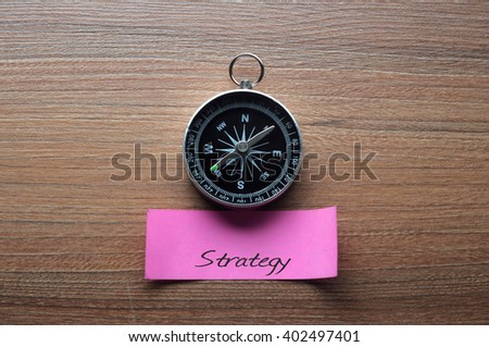 Strategy : Motivation advice handwriting on label with compass - stock photo