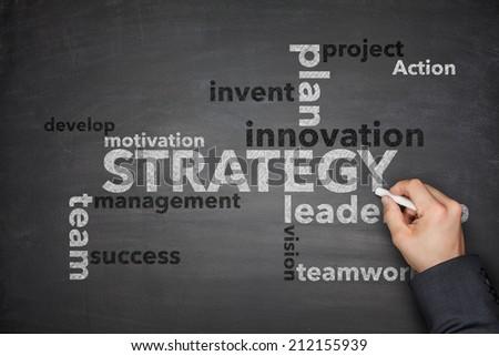 Strategy on Blackboard - stock photo