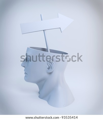 Strategy or a way of thinking concept - an arrow sign coming out of an open head