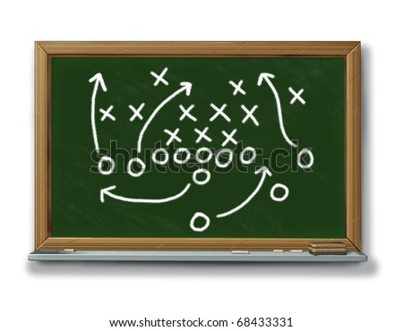 strategy planning game plan chalk board footbal business symbol icon isolated - stock photo