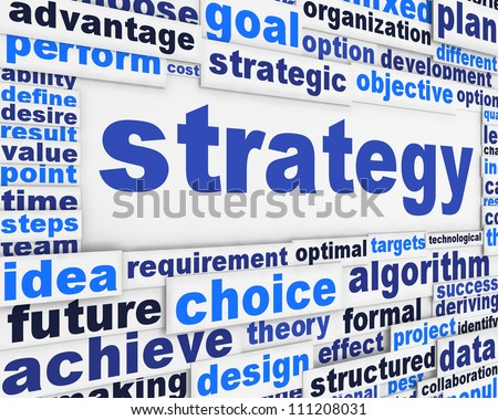 Strategy poster conceptual design. Marketing strategy message design