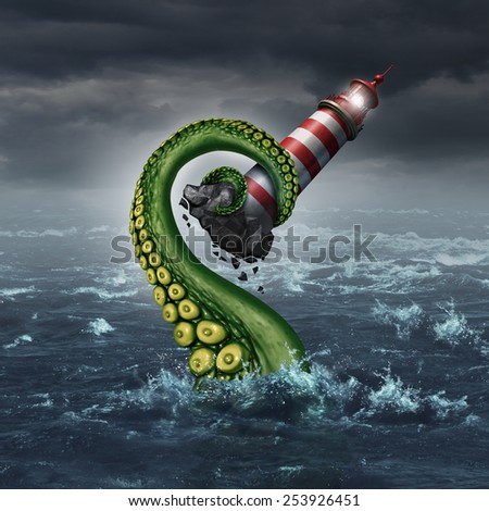 Strategy problem and guidance hazard as a light house beacon being ripped out of the ocean by a dangerous sea monster tentacle arm as a metaphor for risk and trouble planning. - stock photo