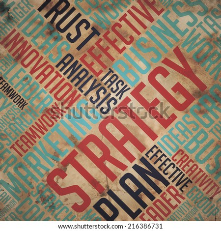 Strategy - Red Word on Retro Background. Grunge Wordcloud. - stock photo