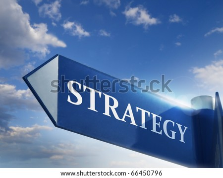 strategy road sign for business marketing and financial concepts - stock photo