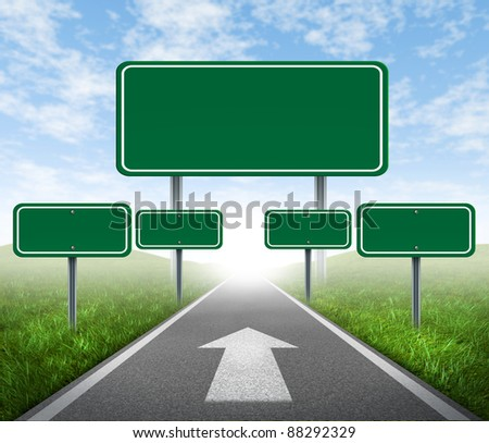 Strategy road signs on a highway with green grass and asphalt street representing the concept of management of business assets journey to a focused destination resulting in success and happiness. - stock photo