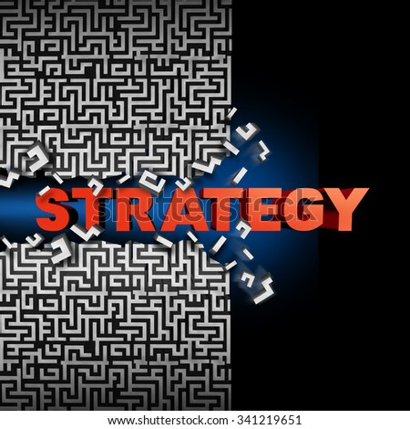 Strategy solution concept and game plan symbol as text breaking through a maze or labyrinth puzzle as a financial  or corporate success symbol to find a way towards succeeding in business and life. - stock photo