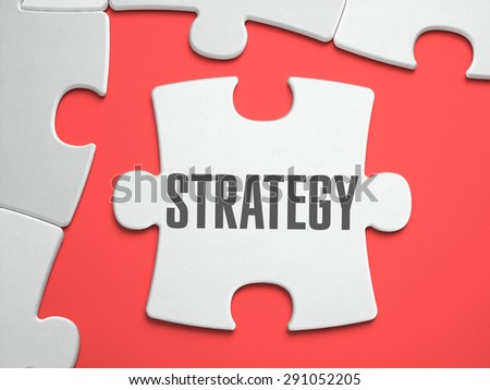 Strategy - Text on Puzzle on the Place of Missing Pieces. Scarlett Background. Close-up. 3d Illustration. - stock photo