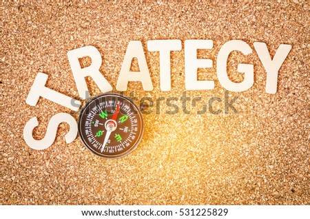 STRATEGY wooden word on wooden background with compass