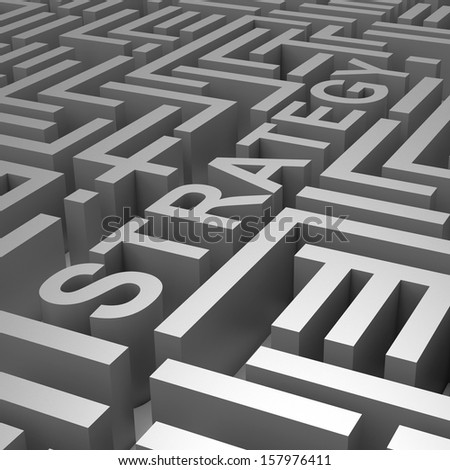 Strategy Word In Maze Shows Blueprint Guide Or Plan
