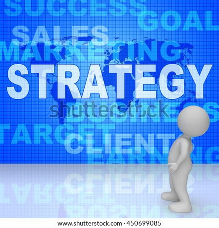Strategy Words Meaning Commercial Vision And Biz 3d Rendering - stock photo